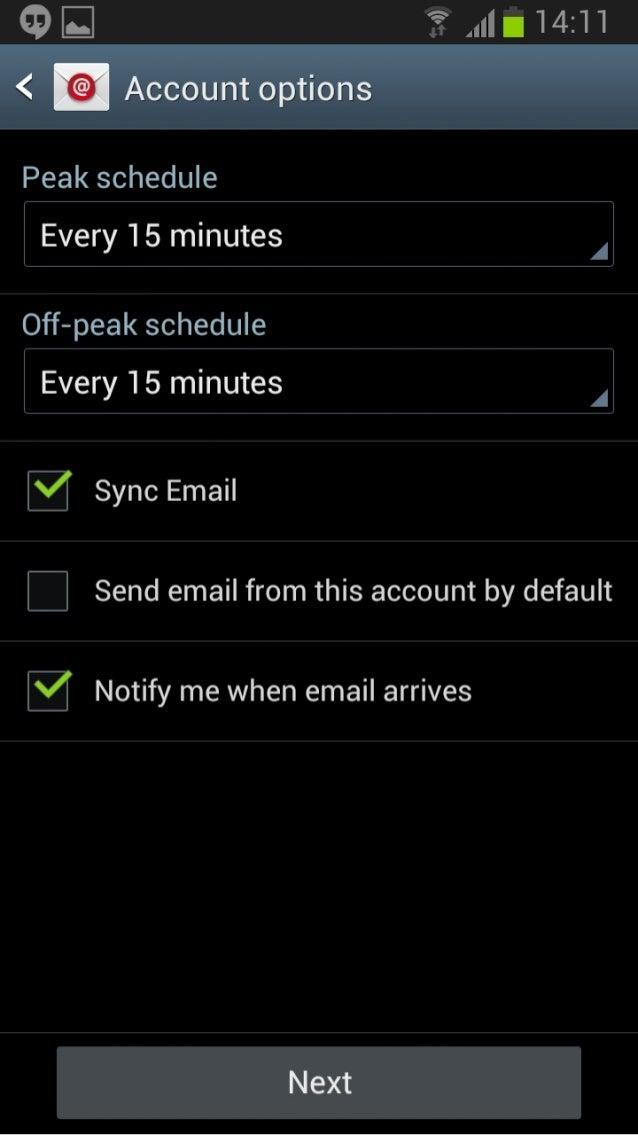 E 1 4: 1 1  }'@'f_f Account options  I  <     Peak schedule  Every 15 minutes  O'ff—peal< schedule  Every 15 minutes  Sync...
