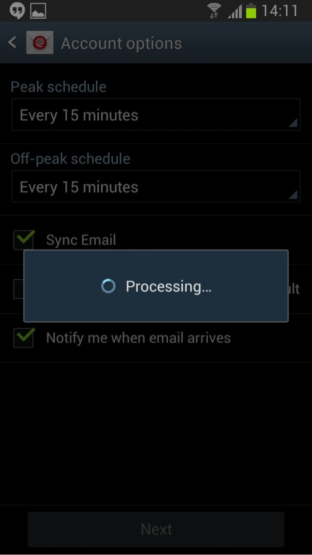 Peak schedule  Every 15 minutes  Off-peak schedule  Every 15 minutes  Sync Email     8 Notify me when email arrives  Next