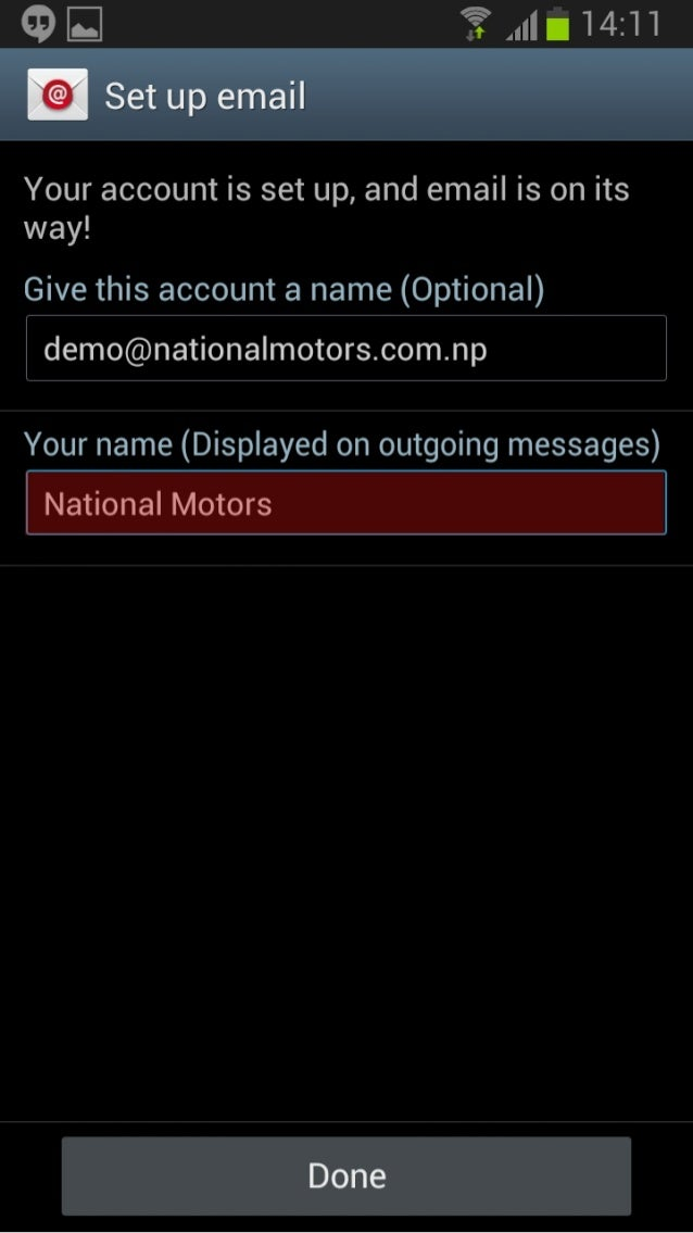 ~ E _   14:11    / @(:  Set up email     Your account is set up,  and email is on its way!   Give this account a name (Opt...