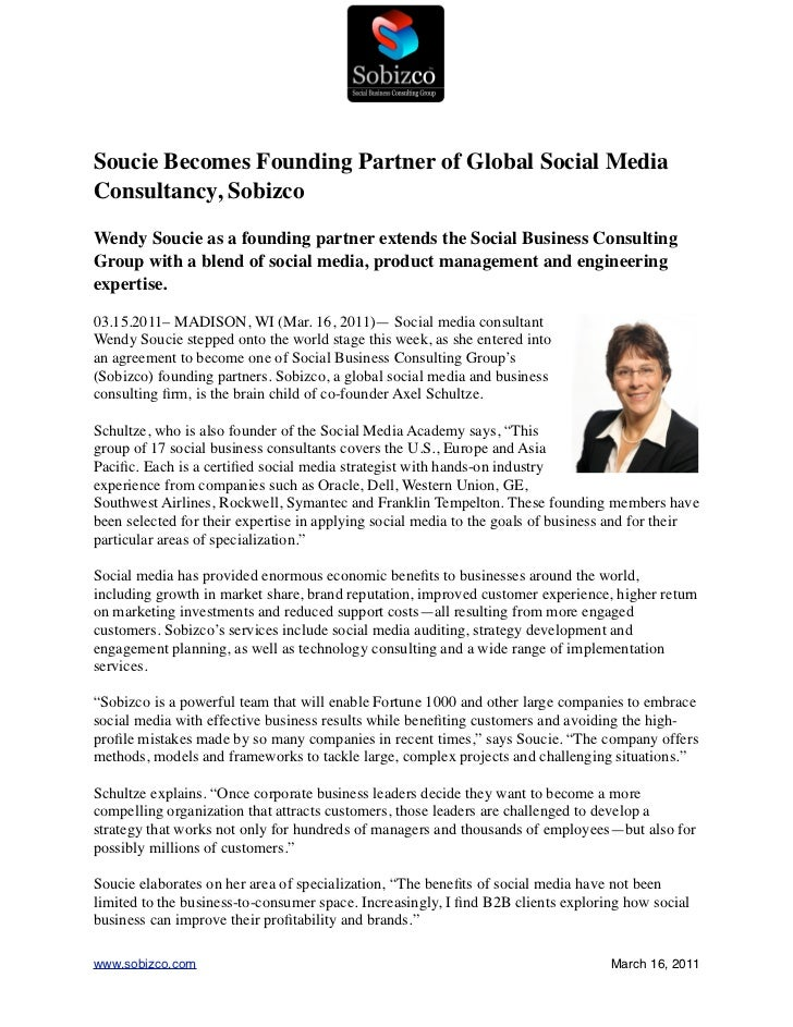 Soucie Becomes Founding Partner of Global Social MediaConsultancy, SobizcoWendy Soucie as a founding partner extends the S...