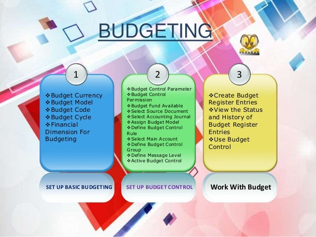 SET UP BASIC BUDGETING 1 Budget Currency Budget Model Budget Code Budget Cycle Financial Dimension For Budgeting 2 B...