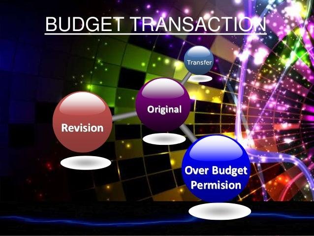 BUDGET TRANSACTION Original Transfer Revision Over Budget Permision