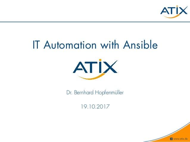 Setup von Configuration Management mit Ansible für smarte DevOps
