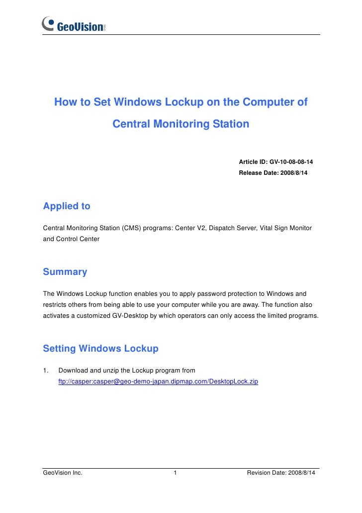 How to Set Windows Lockup on the Computer of                       Central Monitoring Station                             ...