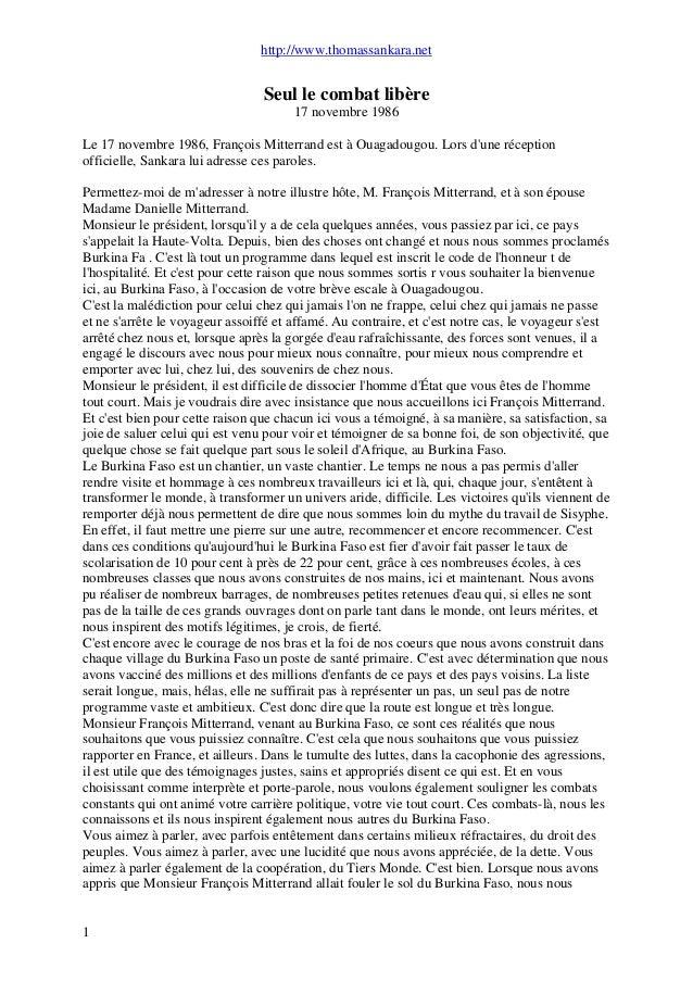 http://www.thomassankara.net Seul le combat libère 17 novembre 1986 Le 17 novembre 1986, François Mitterrand est à Ouagado...