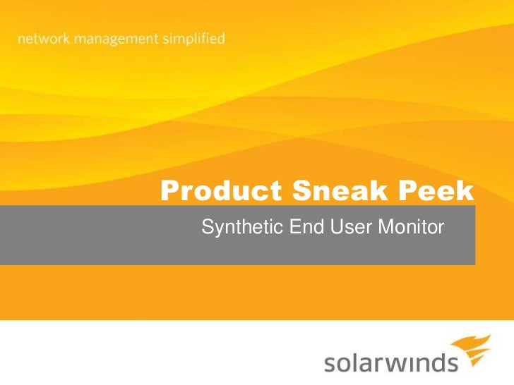 Product Sneak Peek<br />Synthetic End User Monitor<br />