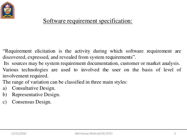 Software Engineering Unit - Requirement documentation in software engineering