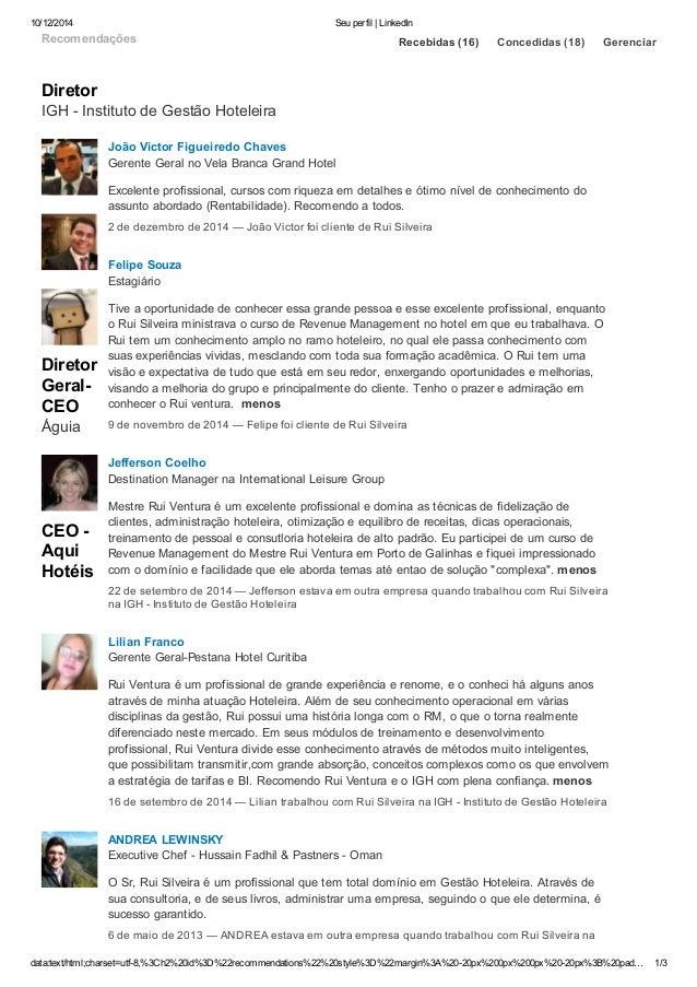10/12/2014 Seu perfil | LinkedIn  Recomendações  Diretor  IGH Instituto  de Gestão Hoteleira  Diretor  GeralCEO  Águia  ...