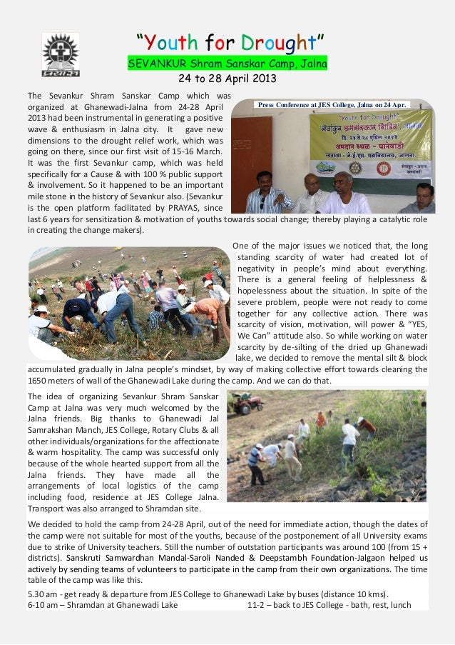 """Youth for Drought""SEVANKUR Shram Sanskar Camp, Jalna24 to 28 April 2013The Sevankur Shram Sanskar Camp which wasorganized..."