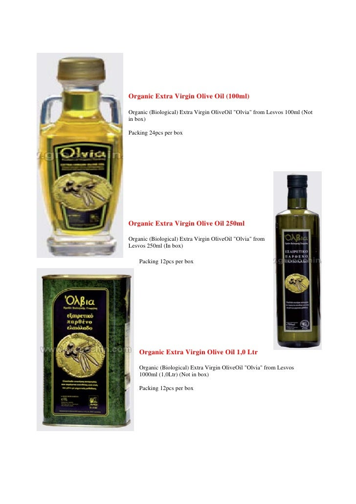 """Organic Extra Virgin Olive Oil (100ml)  Organic (Biological) Extra Virgin OliveOil """"Olvia"""" from Lesvos 100ml (Not in box) ..."""