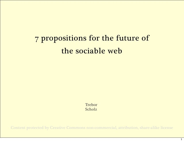 7 propositions for the future of                           the sociable web                                            Tre...