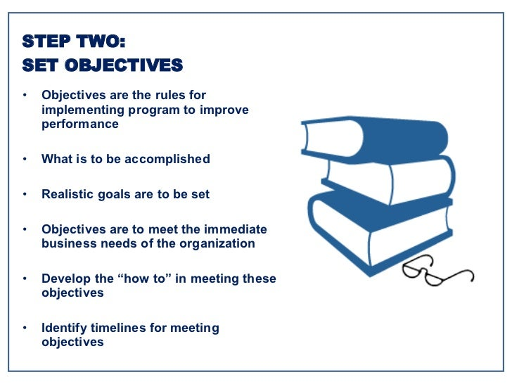<ul><li>Objectives are the rules for implementing program to improve performance </li></ul><ul><li>What is to be accomplis...