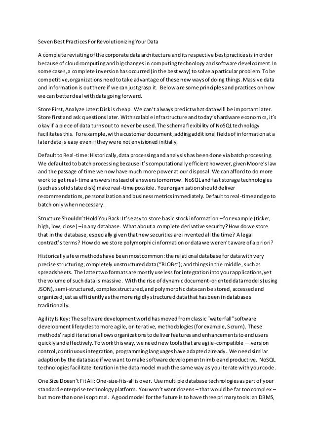 SevenBestPracticesForRevolutionizingYourData A complete revisitingof the corporate dataarchitecture anditsrespective bestp...