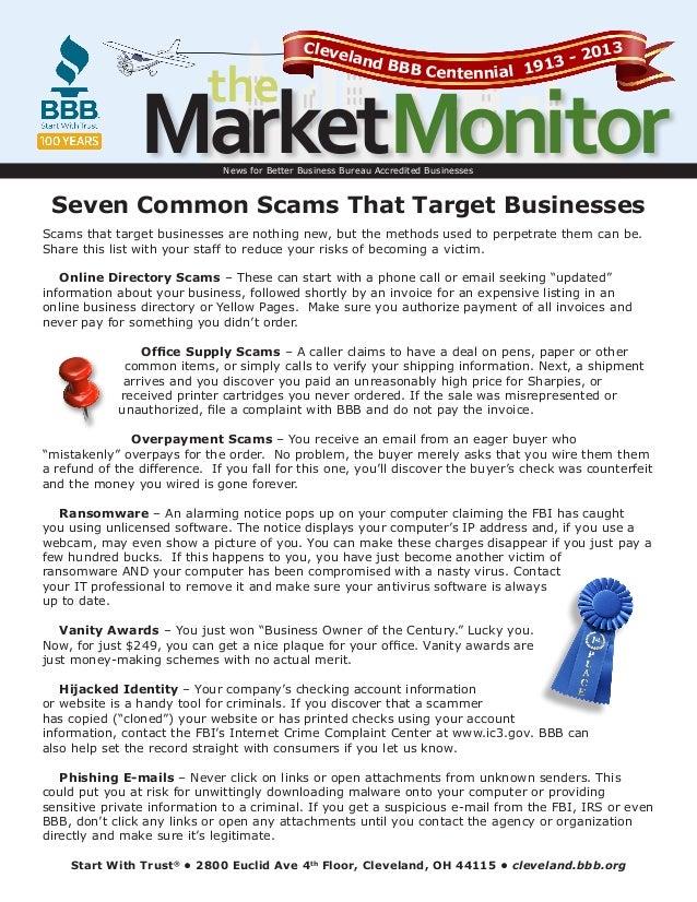 the  Cleve lan  013 3-2 d BBB Centennial 191  MarketMonitor News for Better Business Bureau Accredited Businesses  Seven C...