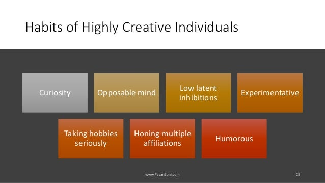 Habits of Highly Creative Individuals Curiosity Opposable mind Low latent inhibitions Experimentative Taking hobbies serio...