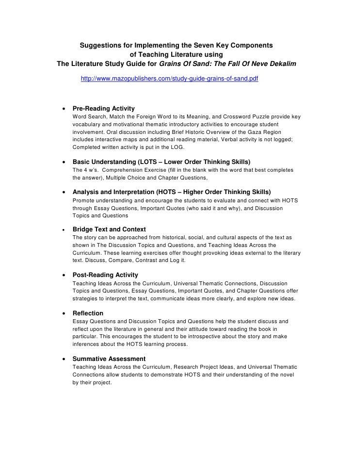 seven key components of teaching literature using the literature stud rh slideshare net Group Discussion bible study discussion guide