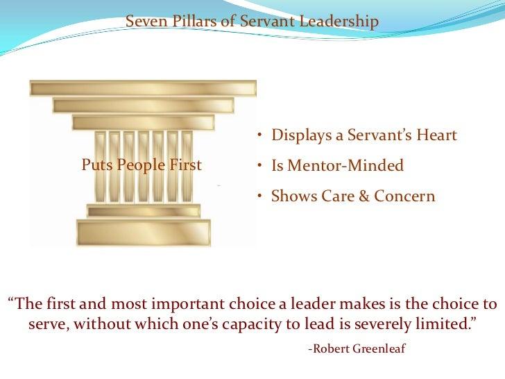 Seven Pillars of Servant Leadership                                       • Displays a Servant's Heart           Puts Peop...