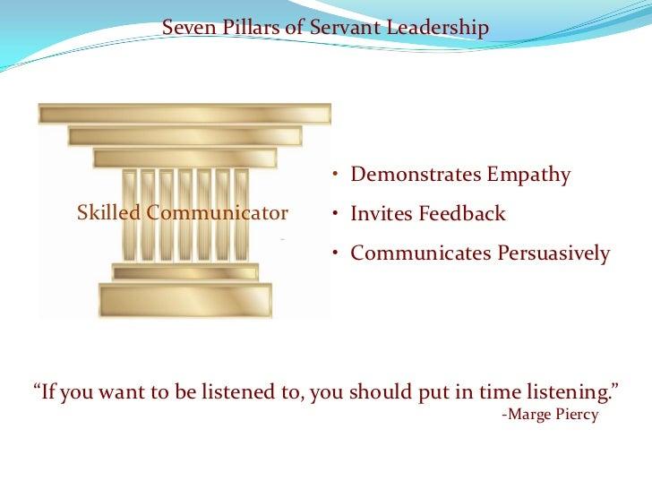Seven Pillars of Servant Leadership                                      • Demonstrates Empathy     Skilled Communicator  ...
