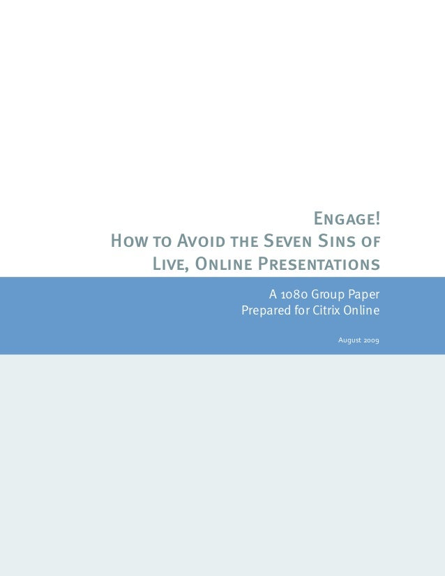 ©20071080Group,LLC  Page1 Engage! How to Avoid the ...