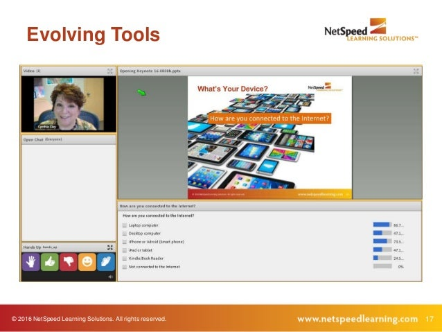 © 2016 NetSpeed Learning Solutions. All rights reserved. 17 Evolving Tools
