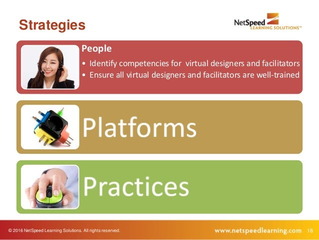© 2016 NetSpeed Learning Solutions. All rights reserved. 18 Strategies People • Identify competencies for virtual designer...