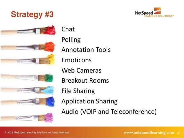 © 2016 NetSpeed Learning Solutions. All rights reserved. 21 Strategy #3 Chat Polling Annotation Tools Emoticons Web Camera...