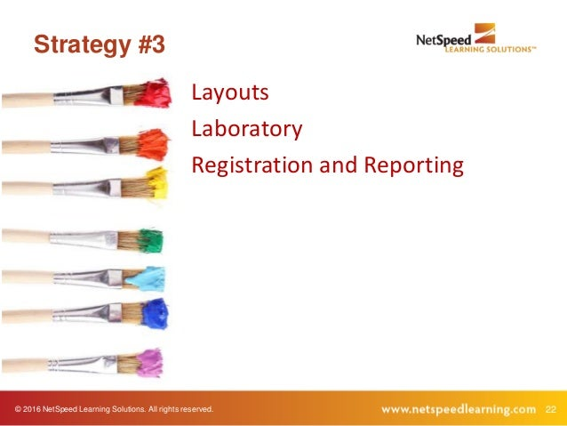© 2016 NetSpeed Learning Solutions. All rights reserved. 22 Strategy #3 Layouts Laboratory Registration and Reporting