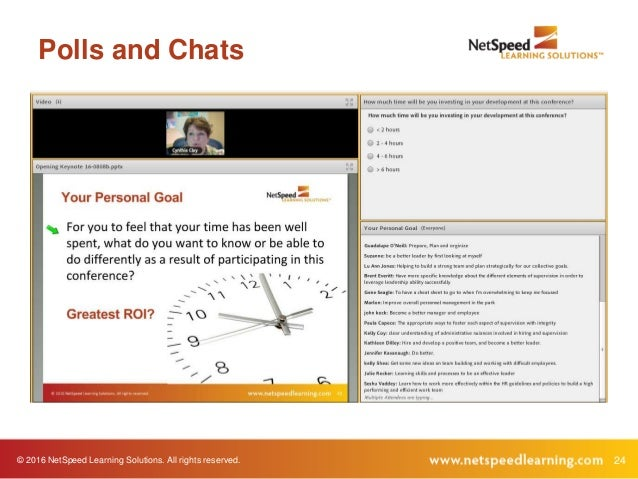 © 2016 NetSpeed Learning Solutions. All rights reserved. 24 Polls and Chats