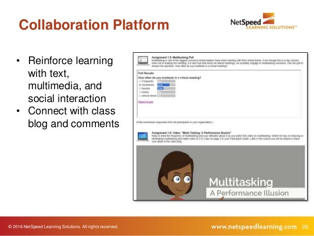 28© 2016 NetSpeed Learning Solutions. All rights reserved. Collaboration Platform • Reinforce learning with text, multimed...