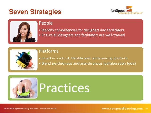 © 2016 NetSpeed Learning Solutions. All rights reserved. 31 Seven Strategies People • Identify competencies for designers ...