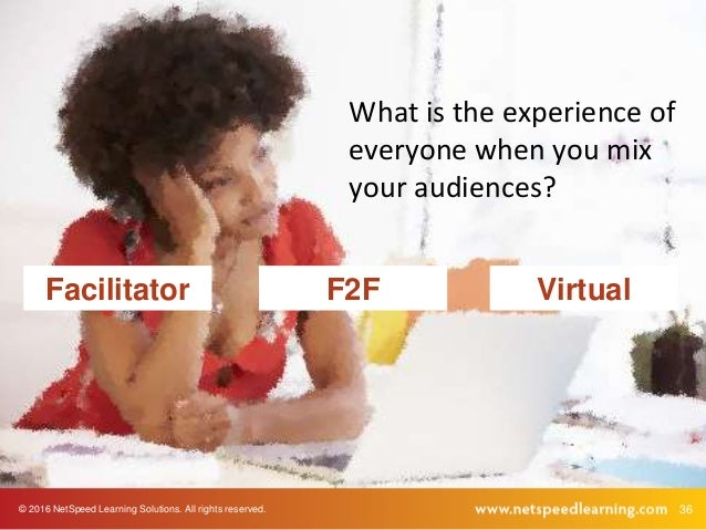© 2016 NetSpeed Learning Solutions. All rights reserved. 36 Facilitator F2F Virtual What is the experience of everyone whe...