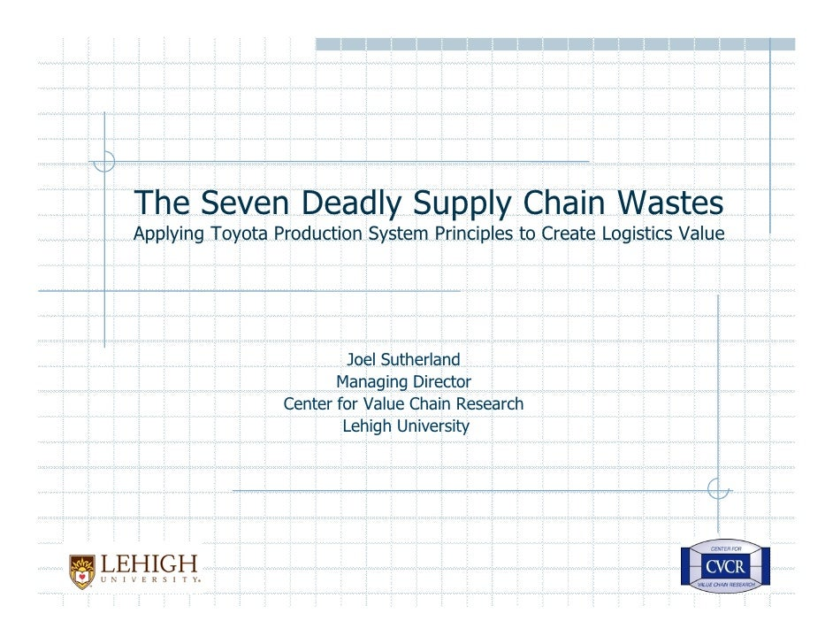 The Seven Deadly Supply Chain Wastes Applying Toyota Production System Principles to Create Logistics Value               ...