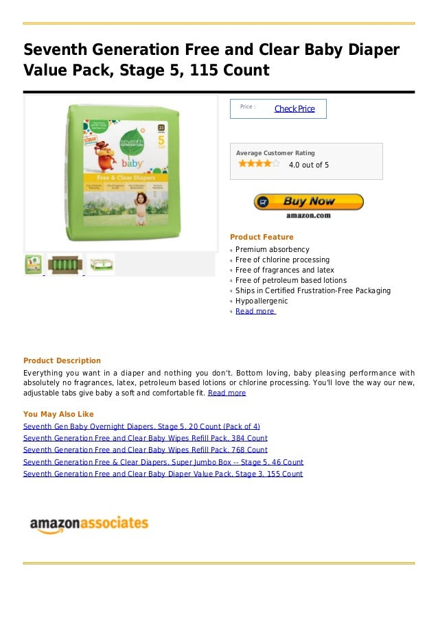 Seventh Generation Free and Clear Baby DiaperValue Pack, Stage 5, 115 Count                                               ...