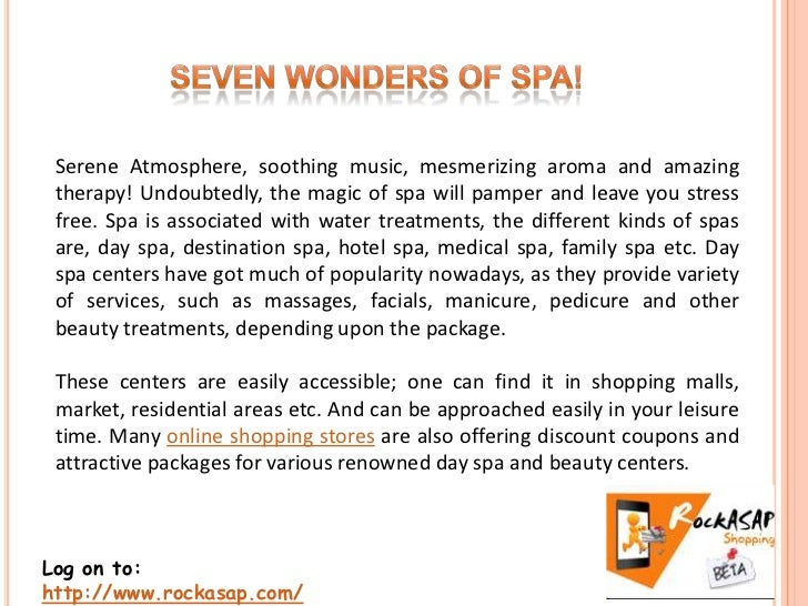 Serene Atmosphere, soothing music, mesmerizing aroma and amazing therapy! Undoubtedly, the magic of spa will pamper and le...