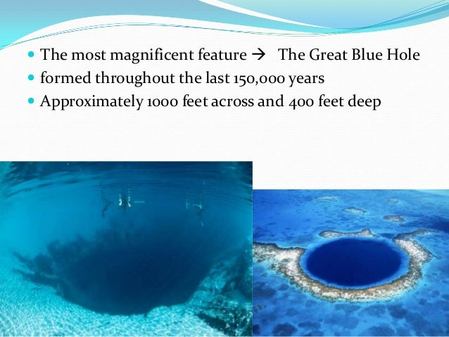  The most magnificent feature  The Great Blue Hole  formed throughout the last 150,000 years  Approximately 1000 feet ...