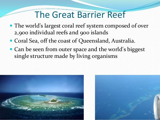 The Great Barrier Reef  The world's largest coral reef system composed of over 2,900 individual reefs and 900 islands  C...