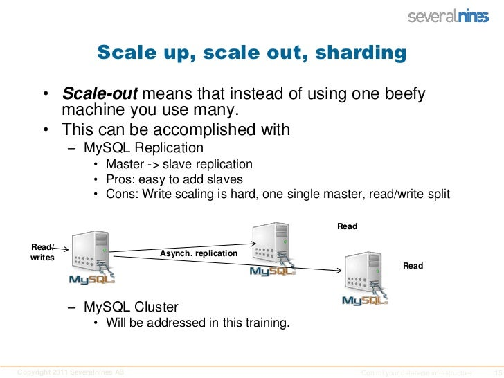 Scale up, scale out, sharding<br />Scale-out means that instead of using one beefy machine you use many.<br />This can be ...