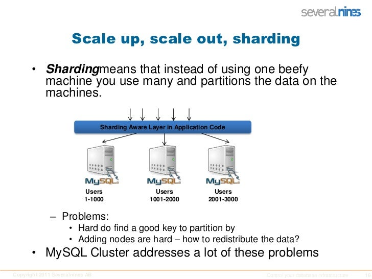Scale up, scale out, sharding<br />Shardingmeans that instead of using one beefy machine you use many and partitions the d...