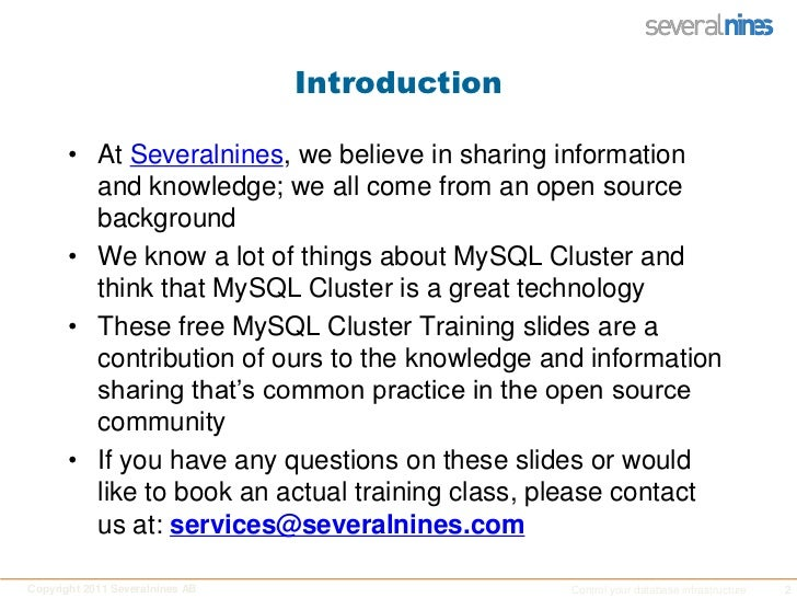 Introduction<br />At Severalnines, we believe in sharing information and knowledge; we all come from an open source backgr...