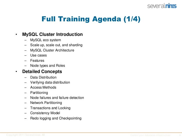 Full Training Agenda (1/4)<br />MySQL Cluster Introduction<br />MySQL eco system<br />Scale up, scale out, and sharding<br...