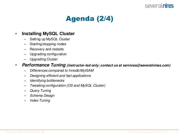 Agenda (2/4)<br />Installing MySQL Cluster<br />Setting up MySQL Cluster<br />Starting/stopping nodes<br />Recovery and re...