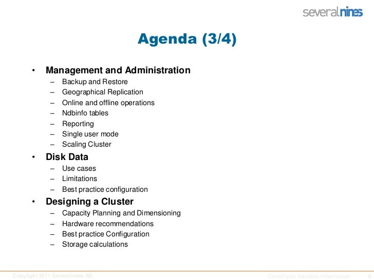 Agenda (3/4)<br />Management and Administration<br />Backup and Restore<br />Geographical Replication<br />Online and offl...