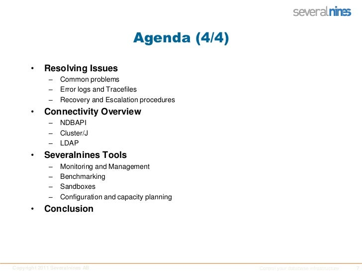 Agenda (4/4)<br />Resolving Issues<br />Common problems<br />Error logs and Tracefiles<br />Recovery and Escalation proced...