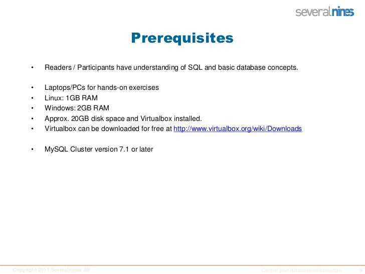 Prerequisites<br />Readers / Participants have understanding of SQL and basic database concepts. <br />Laptops/PCs for han...
