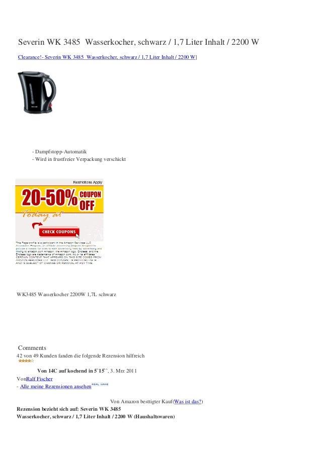 Severin WK 3485 Wasserkocher, schwarz / 1,7 Liter Inhalt / 2200 WClearance!- Severin WK 3485 Wasserkocher, schwarz / 1,7 L...
