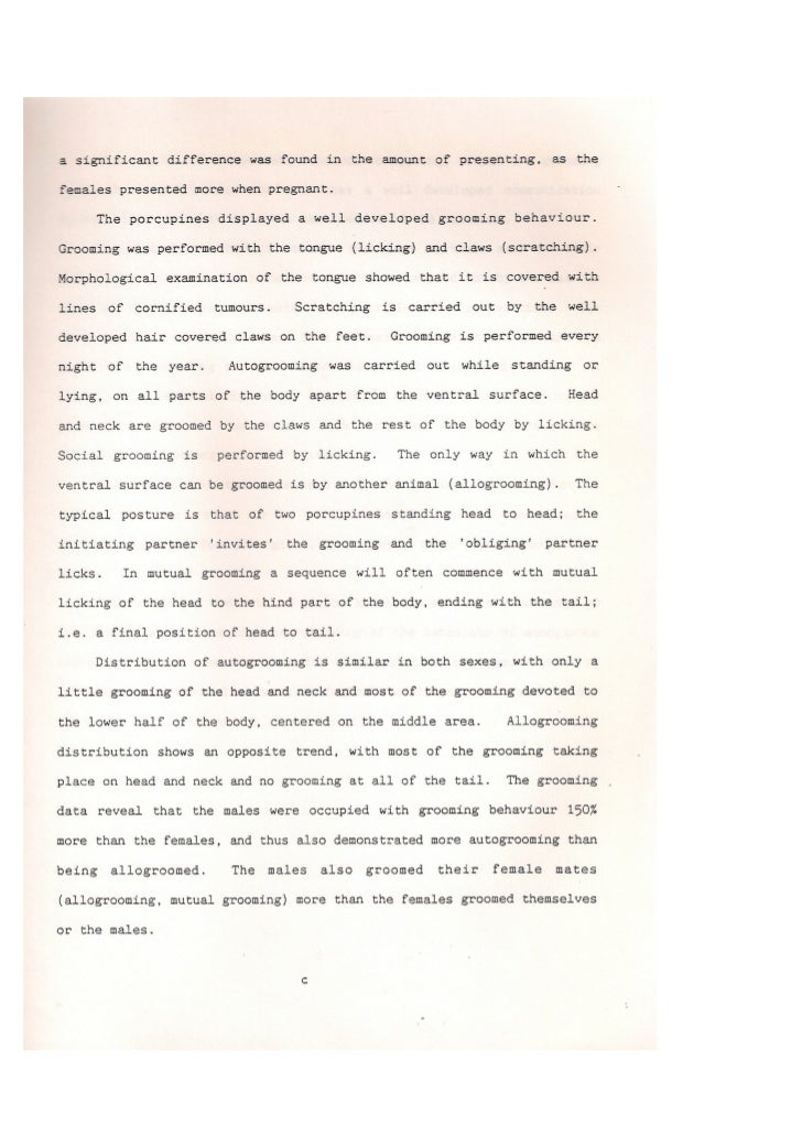 Sever-Ph.D. Thesis-Communication patterns of Porcipine-summary-1991