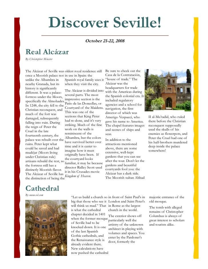 Discover Seville!                                             October 21-22, 2008  Real Alcázar By Christopher Minster   T...