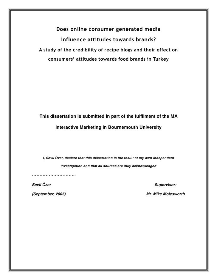 Does online consumer generated media                influence attitudes towards brands?   A study of the credibility of re...