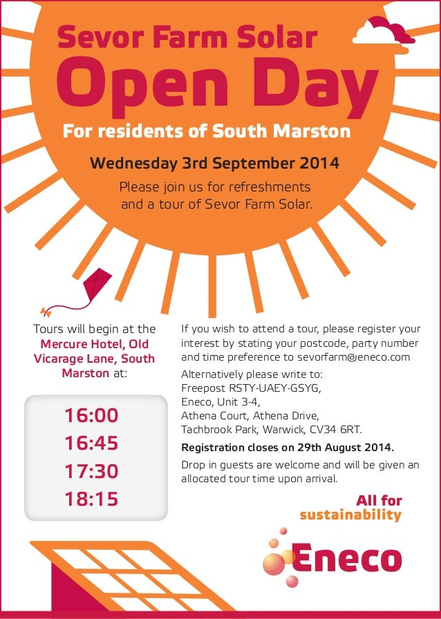 Open Day Sevor Farm Solar For residents of South Marston Wednesday 3rd September 2014 Please join us for refreshments and ...