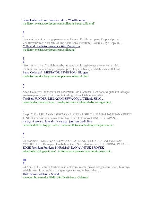 Sewa Collateral   mediator investor - WordPress.com mediatorinvestor.wordpress.com/collateral/sewa-collateral/ 1 2 Syarat ...